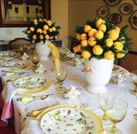 Elegant spring table setting with yellows
