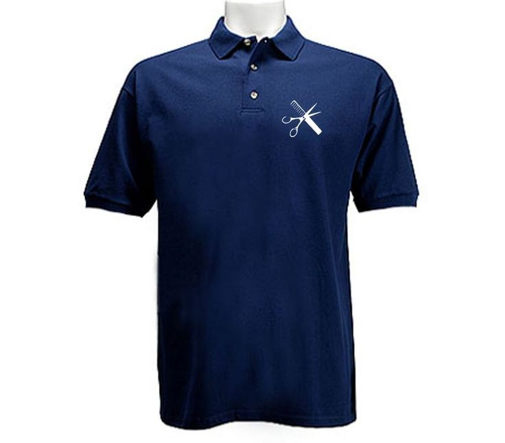 Hairstylist barber tools navy blue polo style buttoned up collared t-shirt #Unbranded #GraphicTee