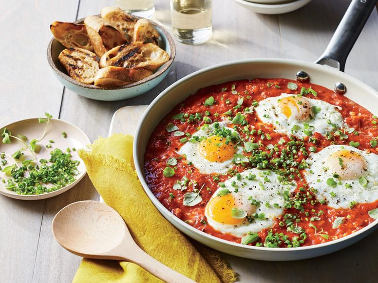 If you've ever had Italian eggs in purgatory, this recipe makes a similar Israeli breakfast dish called shakshuka. If you need to stretch...