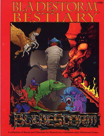 Product Line: Shadow World  Product Edition: BS  Product Name: Bladestorm Bestiary  Product Type: Sourcebook  Author: ICE  Stock #: 7501  ISBN: 1-55806-148-7  Publisher: ICE  Cover Price:   Page Count: 96  Format: Softcover  Release Date: 1991  Language: English