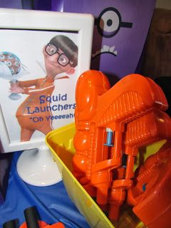 Squid Launcher aka water guns party favor for Despicable Me party