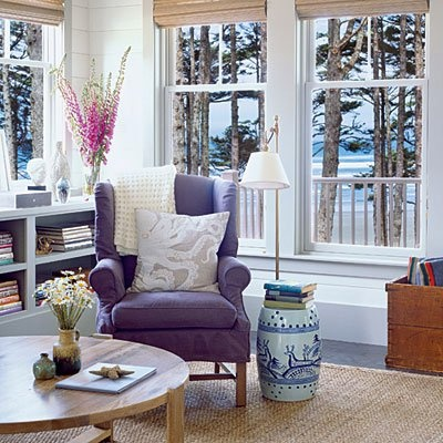 purple chair: Living Rooms, Beaches House, Wings Chairs, Ultimate Beaches, Home Decor, Colors Schemes, Coastal Living, Purple Chairs, Wingback Chairs