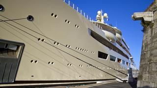 With a total interior volume of 15,917GT, Dilbar is the largest yacht in the world by gross tonnage, if not by length. Built by Lürssen and delivered to the Mediterranean in May 2016, she replaced the owner's previous yacht of the same name, which has since been renamed Ona. Record-breaking features on board include her 180 cubic metre swimming pool, which is believed to be the largest on any yacht, and her 30,000KW electric diesel power plant, which Lürssen claims is the most powerful fi...