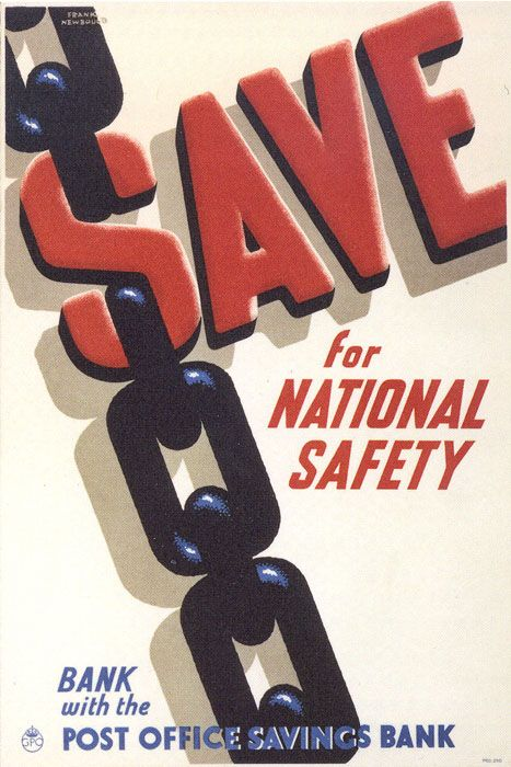 £1 - free delivery with code PINPOSTER   Save for National Safety byFrank Newbould (c.1939)  From the 1930s the Post Office commissioned Britain's leading artists and designers to create posters publicising postal services.
