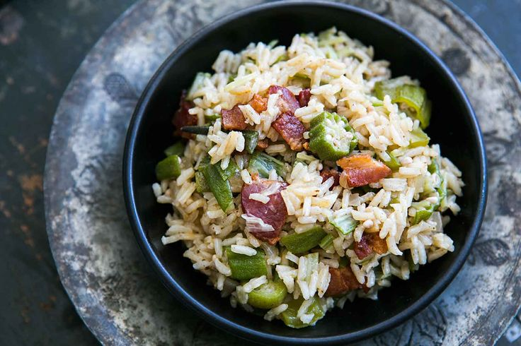 A South Carolina okra pilaf with okra, rice, bacon and green bell pepper. Also called Limpin' Susan.