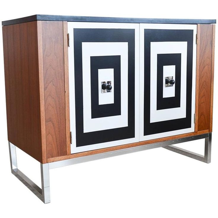 walnut media cabinet with black and white doors