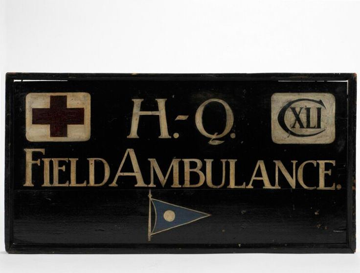 A wounded soldier would be taken through a series of aid posts, dressing stations and hospitals where stretcher bearers, medical officers, nurses and doctors would provide different levels of medical care. This chain of medical services began at the Regimental Aid Post. Many of the personnel who provided this initial care were members of Field Ambulance units. This is the headquarters sign of 141st Field Ambulance, which served on the Western Front. Casualties needing further treatment were…