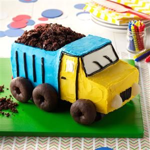 Dump Truck Cake Recipe -GEARING UP to host a construction-themed birthday?  This mouthwatering hauler will get your party on a roll! Our home economists made the treat speedy by using a packaged cake mix and spreading on east-to-mix frosting. What' more, they formed the truck's shape with basic loaf pans instead of a special mold. You can pave the way for your own big rig, too...just follow the simple instructions featured here!—Taste of Home Test Kitchen