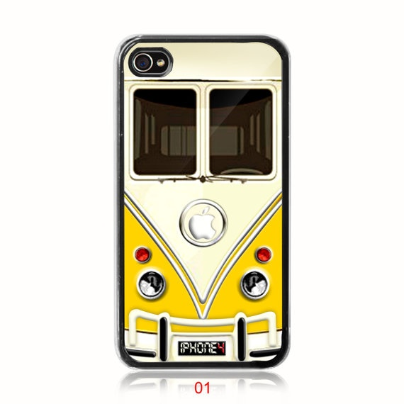 Volks Wagen Bus Front End iPhone 4 Case or iPhone 4s Case (Black Case), Option: White Case Available
