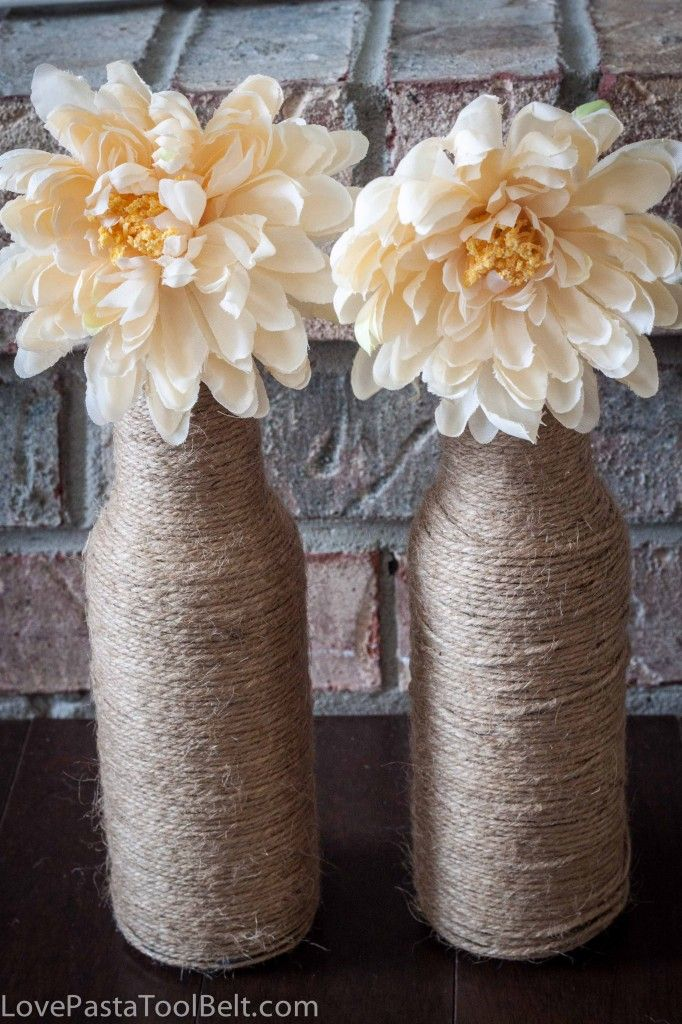 DIY Twine Vases- Love, Pasta and a Tool Belt   DIY   DIY Vases   Vases   Crafts   Twine  