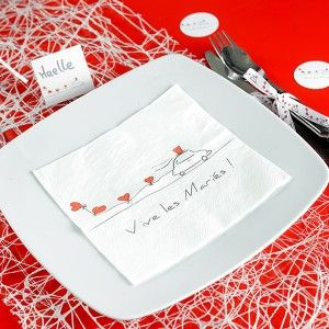 """Serviette en papier mariage Vive les mariés / Wedding Paper Napkins """"Vive les mariés"""" www.artsephemeres.com #wedding #mariage #serviette"""