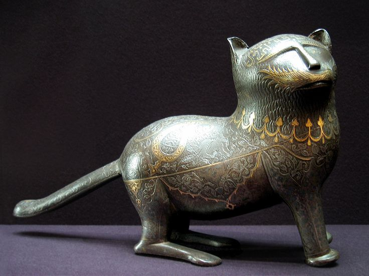 Persian Cat Statue - Cast & Incised Steel with Gold & Silver Inlay. Iran. Circa 19th Century. Musée du Louvre, Paris, France.