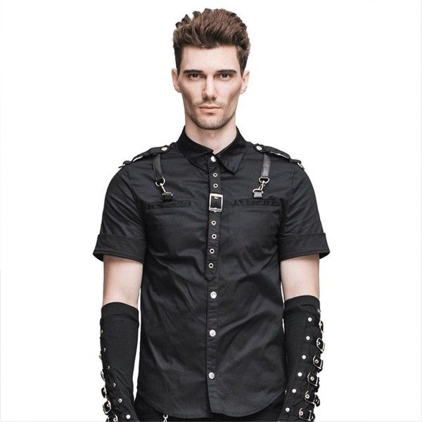 Steampunk Casual Button Shirt Trendy Men Short Sleeve Blouses ❤ liked on Polyvore featuring men's fashion, men's clothing, men's shirts, men's casual shirts, mens short sleeve shirts, mens button shirts, mens steampunk shirt, mens short sleeve button down shirts and mens short sleeve button down casual shirts