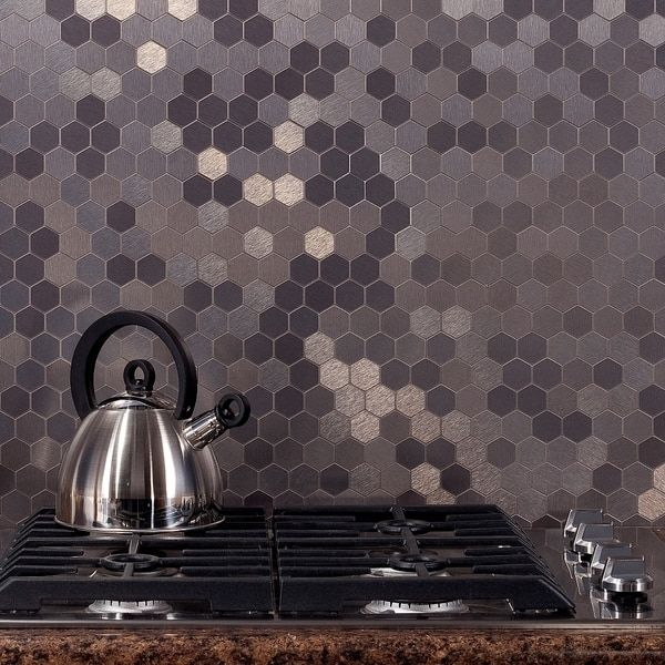 aspect 12x4inch honeycomb stainless matted metal tile 3pack sample 12x4inch honeycomb stainless matted silver