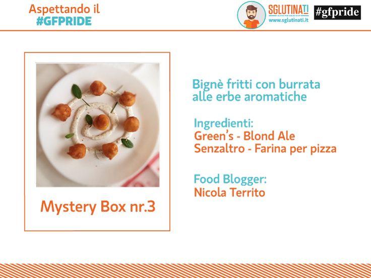 Oggi è il momento di svelarvi la Mystery Box nr.3 Il food blogger Nicola Territo di Cucinando senza glutine ha realizzato dei Bignè fritti con burrata alle erbe aromatiche grazie agli ingredienti di Birre Green's e Senzaltro Prodotti Senza Glutine! Scopri la ricetta http://sglutinati.it/blog/aspettandoilgfpridemysterybox3/