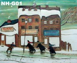 Original giclee by Normand Hudon New BOOK available November 9 2014 #hudon #art #caricaturist #villagescene #winterscene #mixedmedia #canadianartist #quebecartist #originalpainting #balcondart #multiartlee