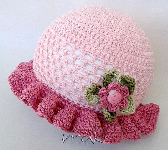 Crochet pattern Summer baby set hat booties and by MakiCrochet