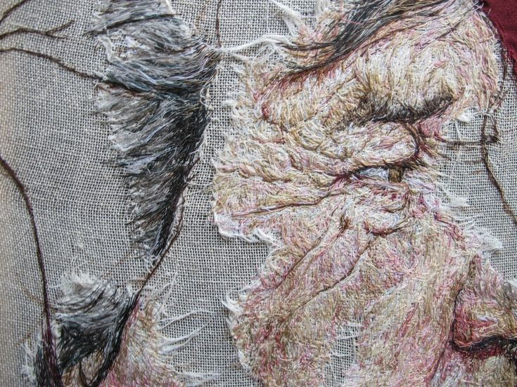 Detail: Melvyn Bragg by Emily Tull - composed with hessian and thread  Portrait Artist of the Year 2014