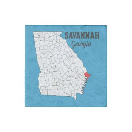 #Savannah Georgia and Chatham County Souvenir Stone Magnet - #familyreunion #family #reunion