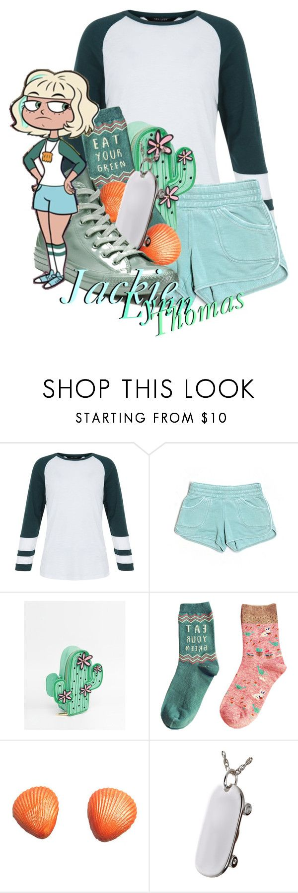 """""""Jackie Lynn Thomas from Star VS The Forces of Evil"""" by ouro-asunder ❤ liked on Polyvore featuring Hard Tail, Skinnydip and Converse"""