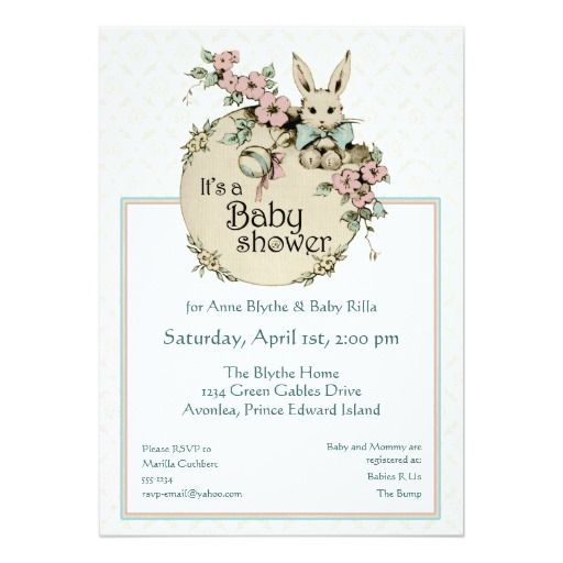 429 best Bunny Baby Shower Invitations images on Pinterest Baby
