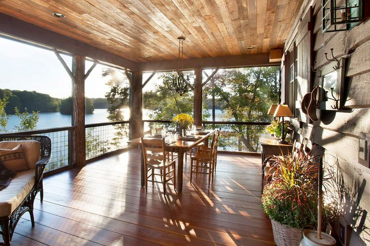 Beautifully Sheltered Wood Deck w/ Panoramic views of Lake Keowee, South Carolina [990 x 660] - Interior Design Ideas, Interior Decor and Designs, Home Design Inspiration, Room Design Ideas, Interior Decorating, Furniture And Accessories