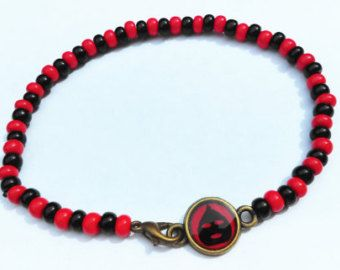Pulsera Rojo y Negro Ilde Elegua, Ilde de Santo, Santeria, Yoruba