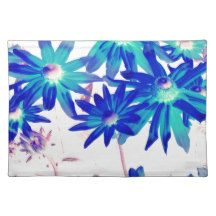 Blue flowers cloth placemat
