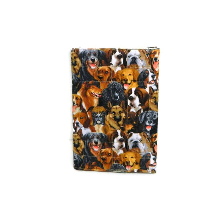A5 Notebook Cover, dog fabric, Journal Cover, Diary Cover A5, Removable Book Covers, Fabric Slip-Cover, quilted sleeves, book holder, #gifts #booksleeve