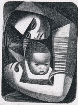 Lithograph by Elizabeth Catlett (1915-2012), 1944, Mother and Child