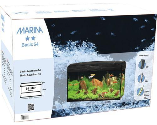aquarium marina basic 54 mit beleuchtung heizer filter ohne unterschrank schwarz. Black Bedroom Furniture Sets. Home Design Ideas