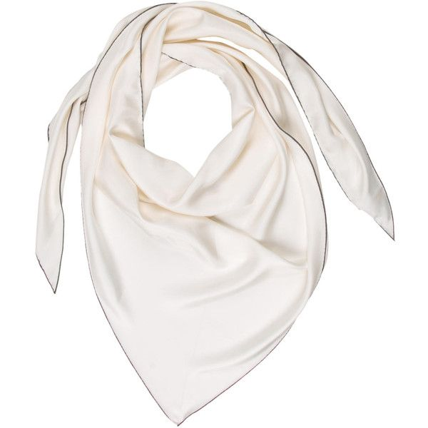 Pre-owned Herm?s Silk Triangle Scarf (11 365 UAH) ❤ liked on Polyvore featuring accessories, scarves, white, hermes shawl, white silk shawl, hermes scarves, white scarves and hermès