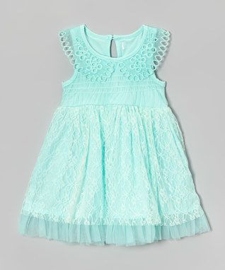 Mint Lace Peter Pan Collar Dress - Infant, Toddler & Girls