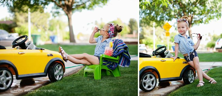 Cute car wash photo session idea for kids. {Photography} {Ashley Madsen}