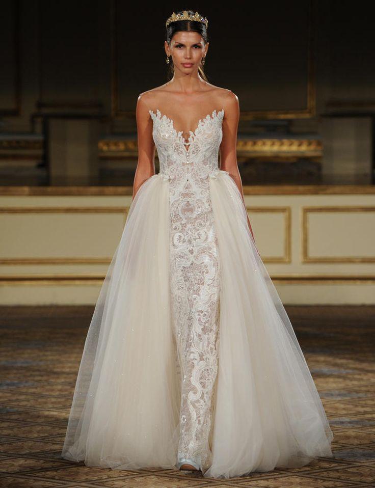 Best 25 detachable wedding skirt ideas on pinterest princess berta lace wedding dress with ivory tulle detachable skirt from fall 2016 https junglespirit Gallery