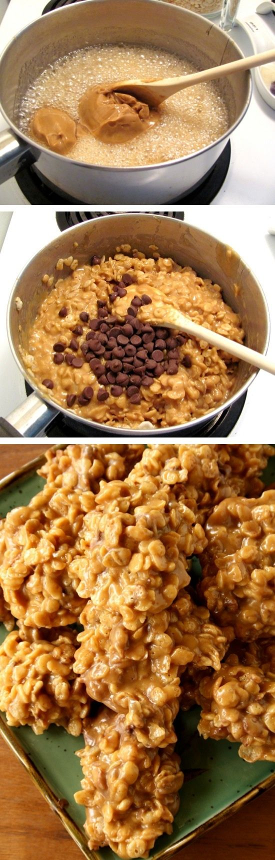 Stove Top Peanut Butter Cereal Cookies | No baking required! Made with Special K, but you could also make them with Rice Krispies or any other cereal. Wendy Schultz via Detta Ringuette via Pinterest  - Biscuits & Cookies.