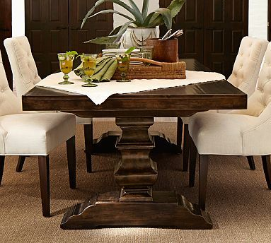 Banks Extending Dining Table  -- like the chairs as end chairs to our kicthen table #potterybarn