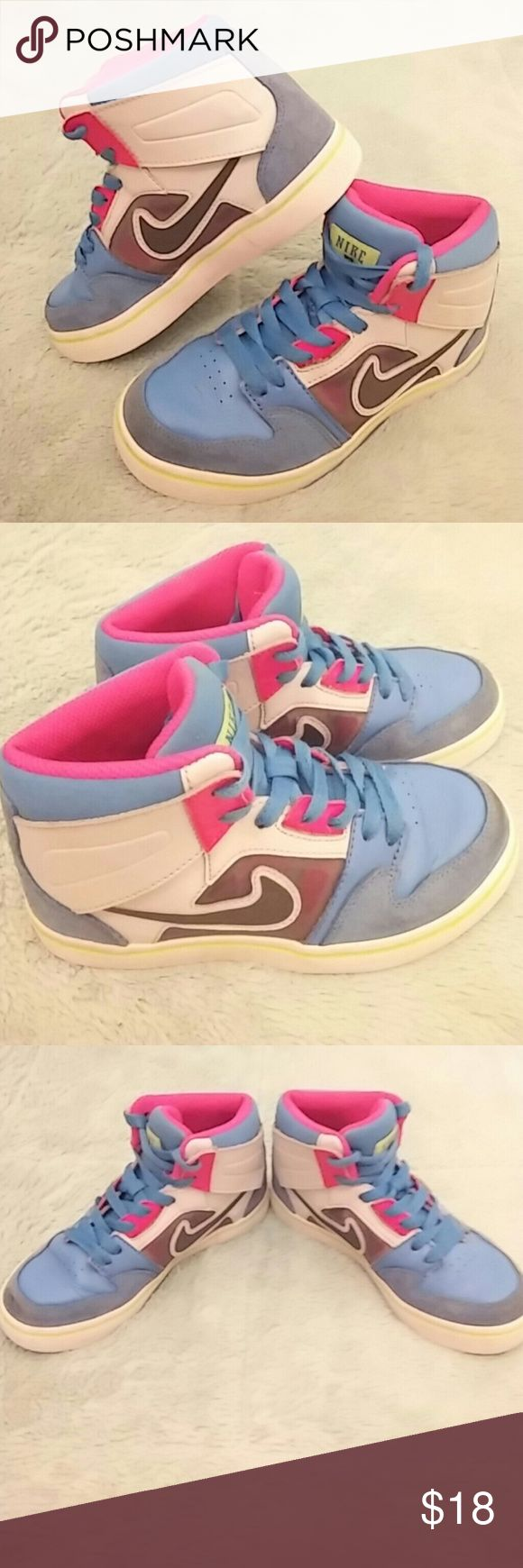 Cute*NIKE* hi-top's Fun, flashy *NIKE* hi-top's.... These do have ware on them... They have been worn a good bit... They are still so cute though and i think the right kid could rock these kicks!!! Nike Shoes Sneakers