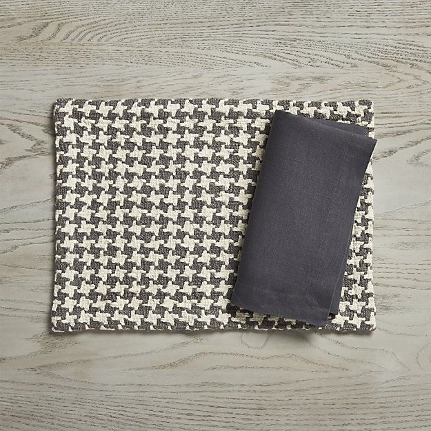 Houndstooth Grey Placemat | Crate and Barrel
