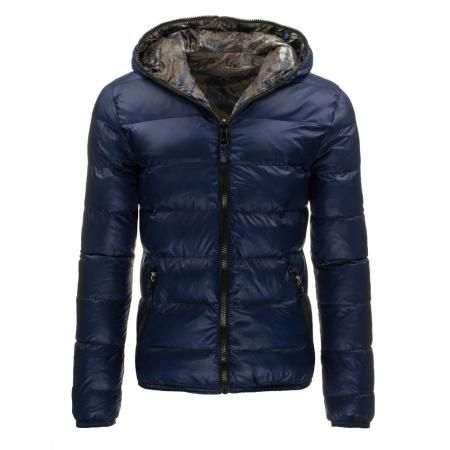 Pánská oboustranná bunda s kapucí modrá