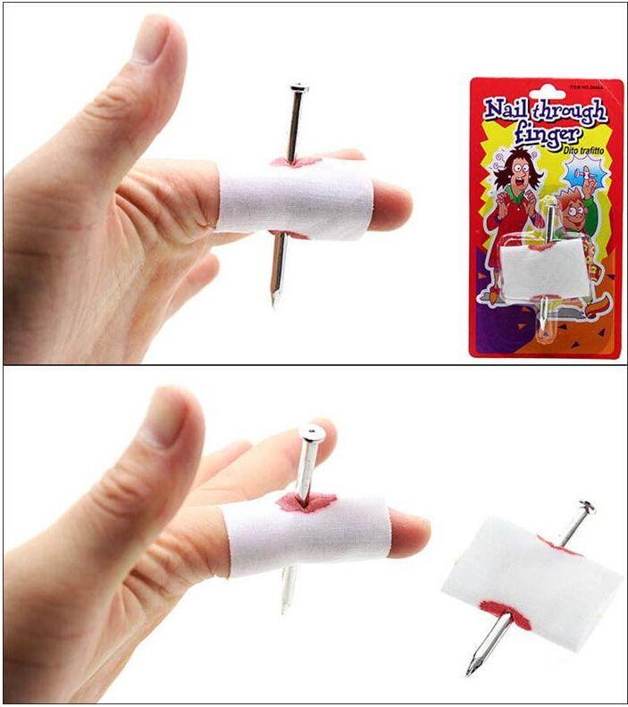 New Prank Joke Toy Fake Nail Through Finger Halloween Kids Children Blood Manmade With Bandage April Fool Trick Prop Scary Toy +