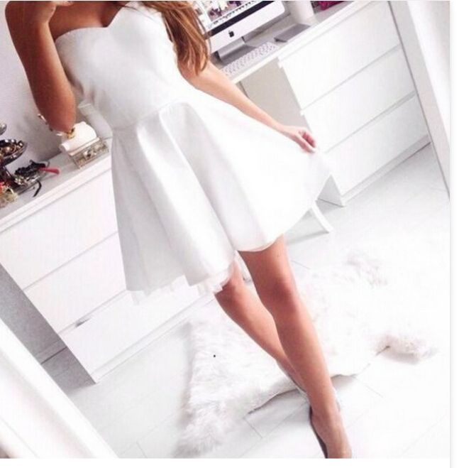 Strapless Cute White Prom Dress A line Party Dress Homecoming Dresses