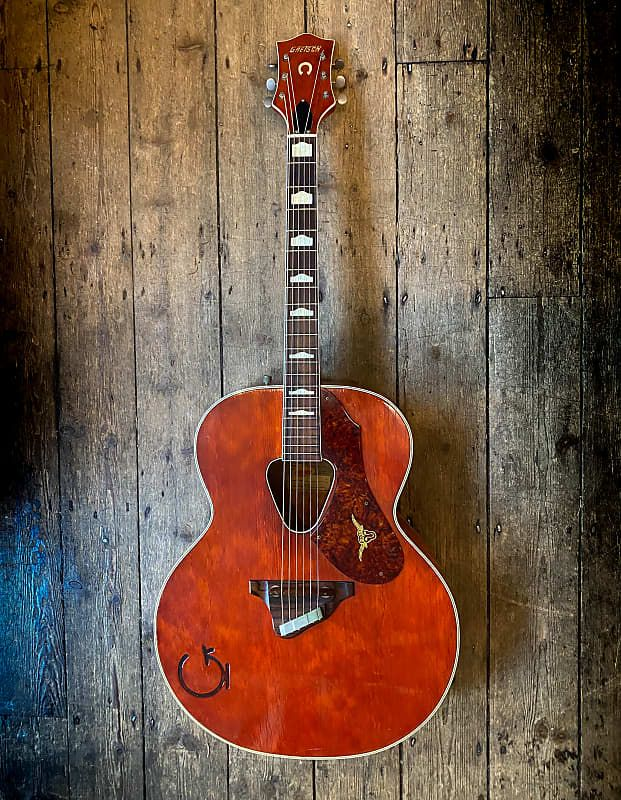 1957 Gretsch Rancher Acoustic In Western Orange With Hard Shell Case New Kings Road Vintage Guitar Emporium Reverb Gretsch Vintage Guitars Acoustic Guitar
