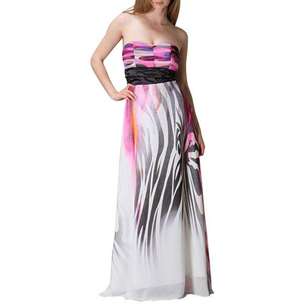 Majestic Strapless Maxi Dress via Polyvore featuring dresses, strapless maxi dresses, sparkly maxi dress, zebra maxi dress, zebra print dresses and zebra print maxi dress
