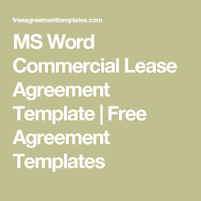 MS Word Commercial Lease Agreement Template | Free Agreement Templates