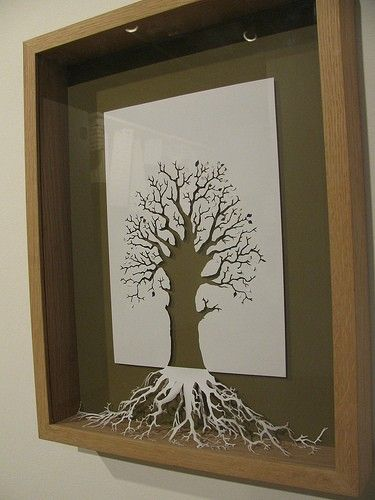 """Tree art- easy and cool idea to cut out with an Xcto and use the cutout as the roots. Gonna do this soon and do other """"nature"""" cutouts to go with."""