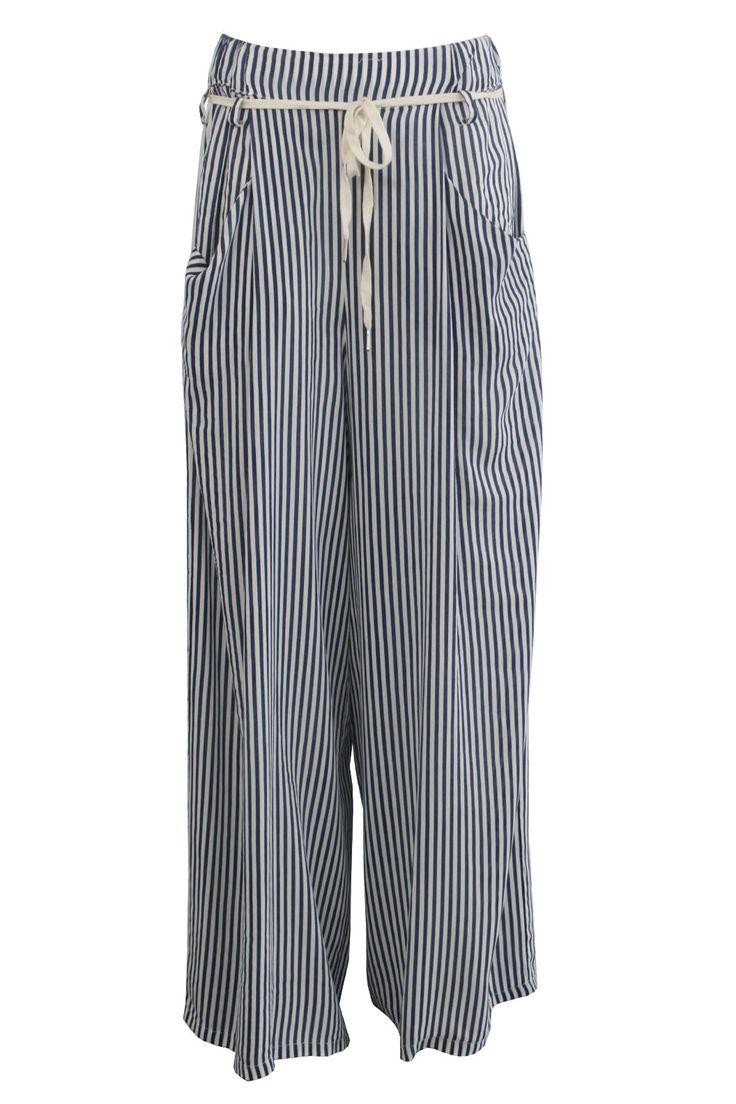 Pantalone ampio riga con cordoncino | Giorgia & Johns