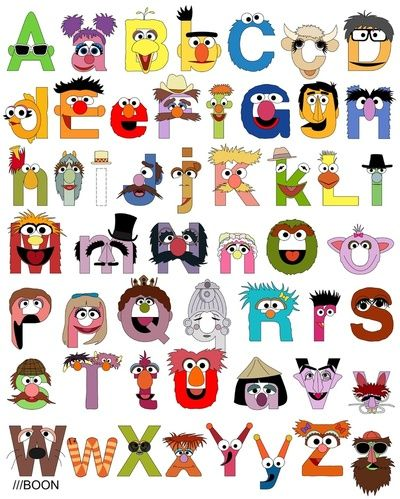 """Sesame Street Alphabet Art Print. Great for Elmo party game just get the kids to sing the famous Sesame Street """"now I know my ABC"""" song child who gets them all right gets a prize ! (good idea to give all the guests a gift for playing in your party games you don't want any tears)"""