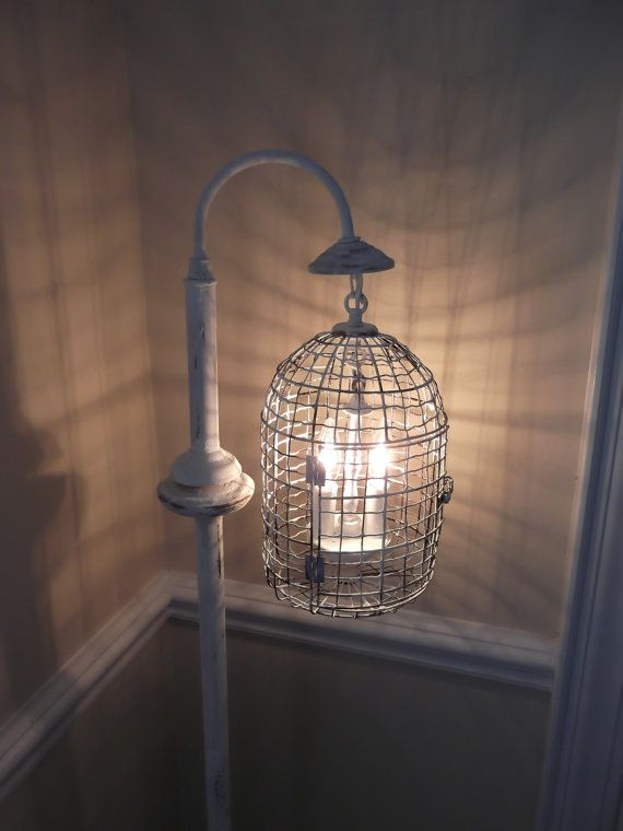 Chandelier floor Lamp ,vintage chandelier bird cage light shabby chic chandelier, chippy , french farmhouse floor lamp, upcycled