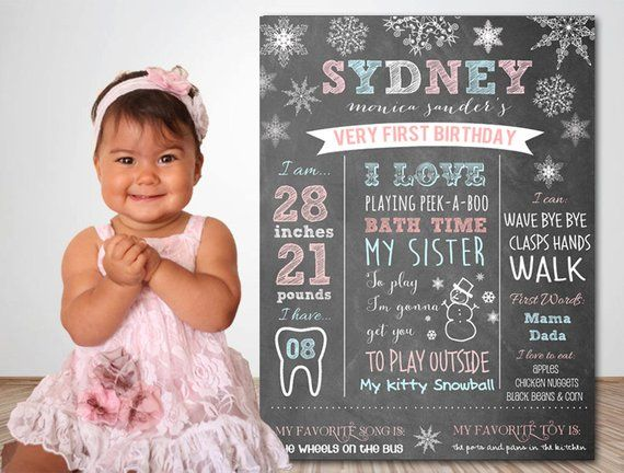 WINTER ONEDERLAND Chalkboard Birthday Party Sign Walking in a Winter Onederland – invitation in my s